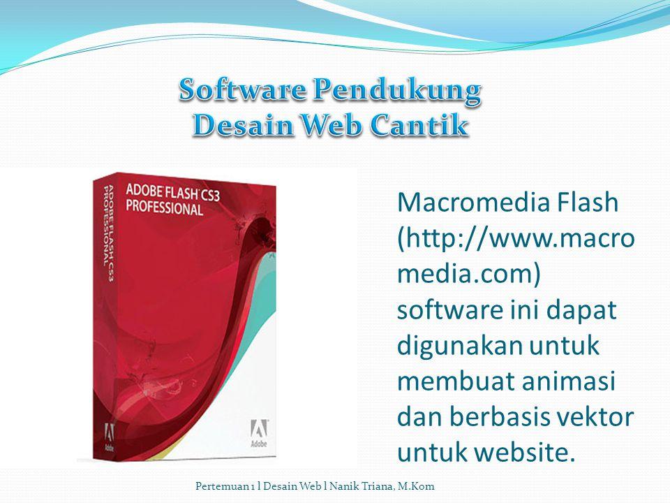 Macromedia Fireworks (http://www.macromedia.com) : software ini sangat mirip dengan Adobe Photoshop, namun tool ini berbasis vektor. Software ini meng