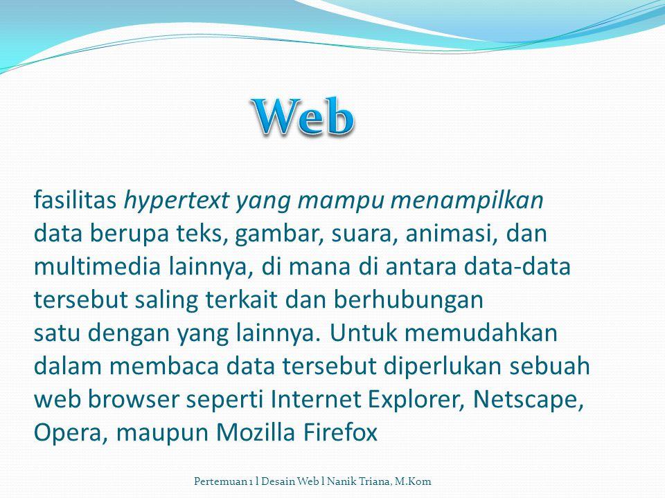 fasilitas hypertext yang mampu menampilkan data berupa teks, gambar, suara, animasi, dan multimedia lainnya, di mana di antara data-data tersebut saling terkait dan berhubungan satu dengan yang lainnya.