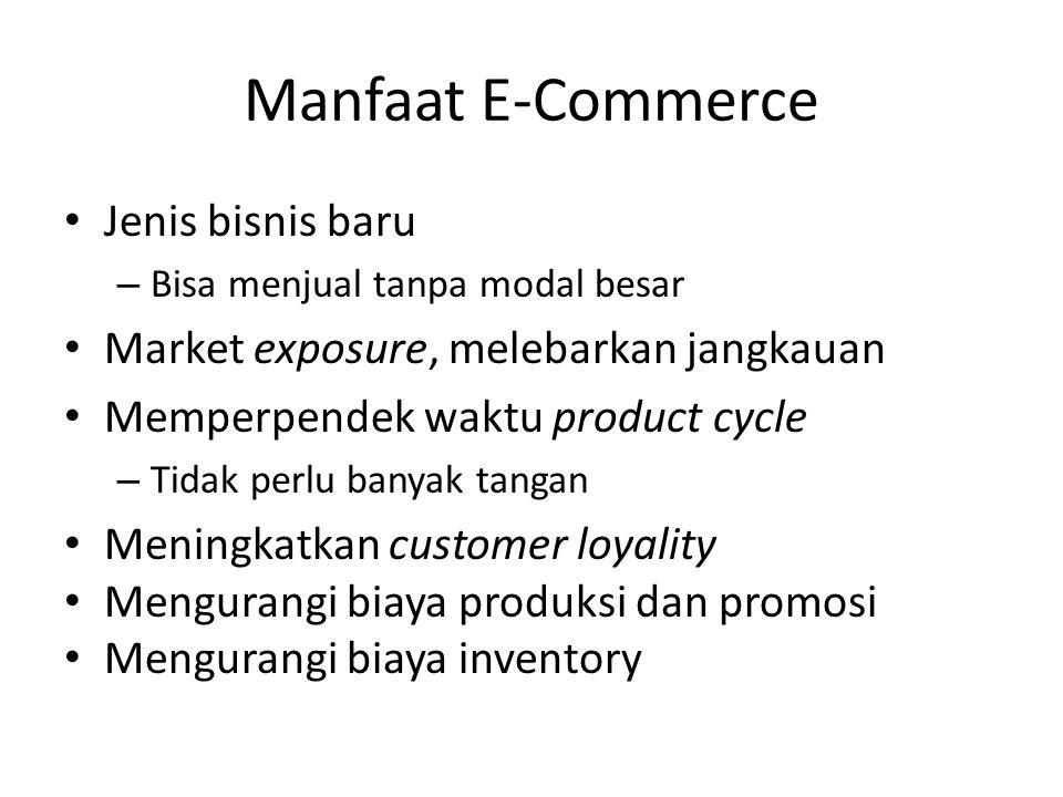 Manfaat E-Commerce • Jenis bisnis baru – Bisa menjual tanpa modal besar • Market exposure, melebarkan jangkauan • Memperpendek waktu product cycle – T