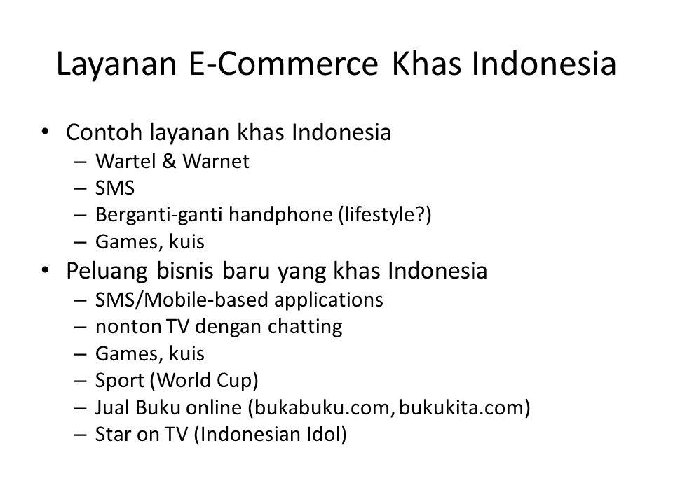 Layanan E-Commerce Khas Indonesia • Contoh layanan khas Indonesia – Wartel & Warnet – SMS – Berganti-ganti handphone (lifestyle?) – Games, kuis • Pelu