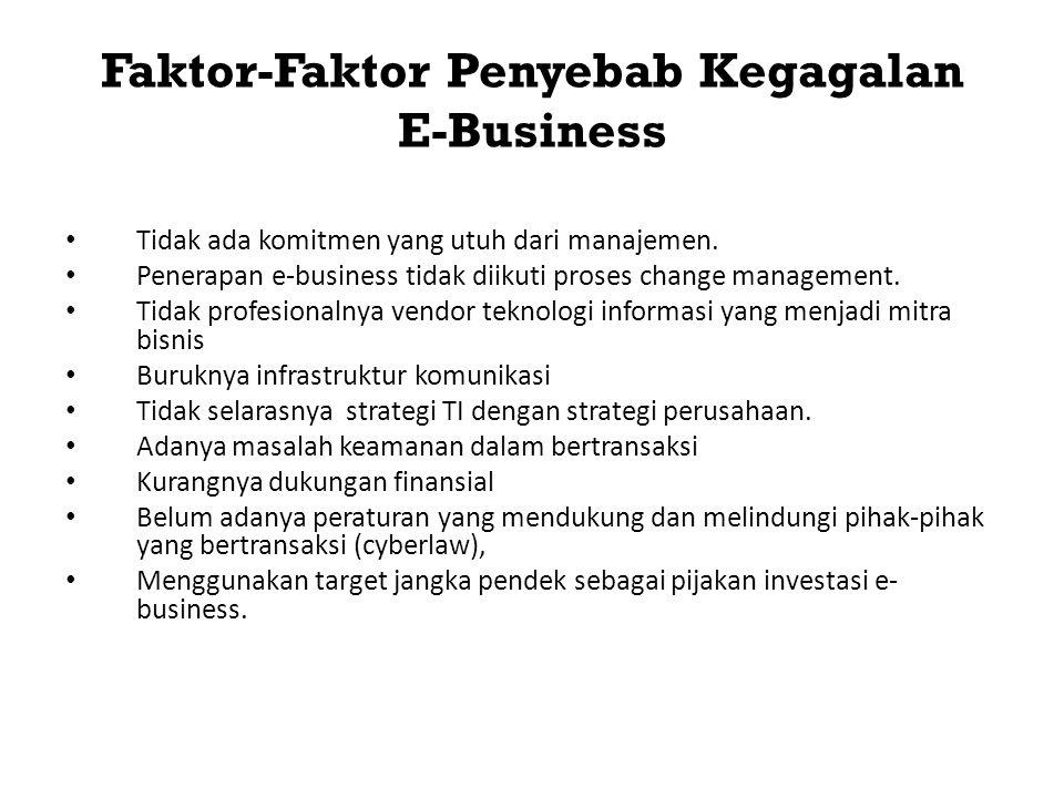 Faktor-Faktor Penyebab Kegagalan E-Business • Tidak ada komitmen yang utuh dari manajemen. • Penerapan e-business tidak diikuti proses change manageme