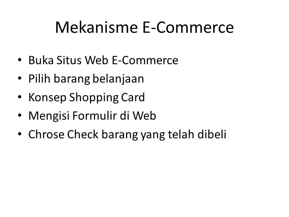 • Buka Situs Web E-Commerce • Pilih barang belanjaan • Konsep Shopping Card • Mengisi Formulir di Web • Chrose Check barang yang telah dibeli Mekanism