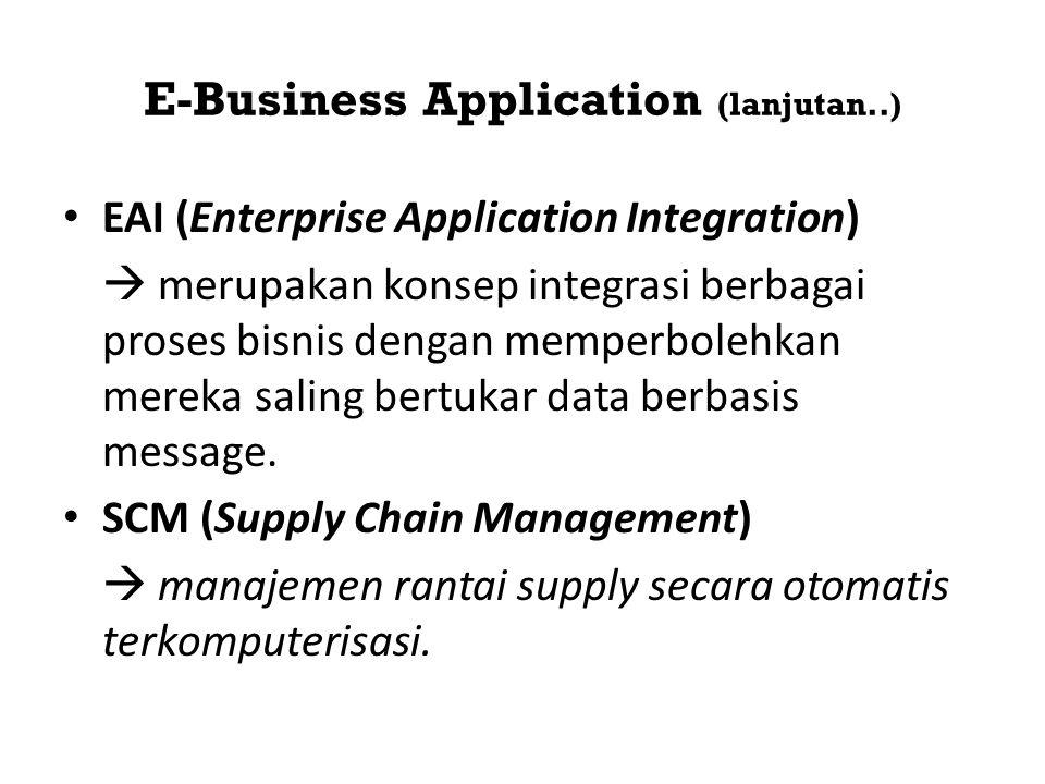 E-Business Application (lanjutan..) • EAI (Enterprise Application Integration)  merupakan konsep integrasi berbagai proses bisnis dengan memperbolehk