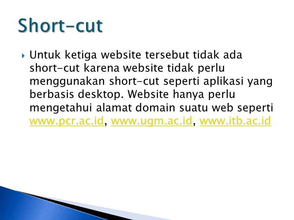  Untuk ketiga website tersebut tidak ada short-cut karena website tidak perlu menggunakan short-cut seperti aplikasi yang berbasis desktop.