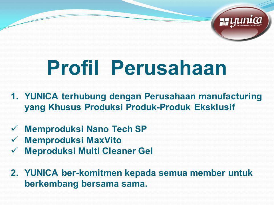 Profil Perusahaan 1.YUNICA terhubung dengan Perusahaan manufacturing yang Khusus Produksi Produk-Produk Eksklusif  Memproduksi Nano Tech SP  Memproduksi MaxVito  Meproduksi Multi Cleaner Gel 2.YUNICA ber-komitmen kepada semua member untuk berkembang bersama sama.