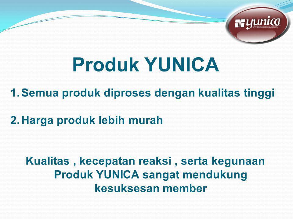 Produk YUNICA 1.Semua produk diproses dengan kualitas tinggi 2.Harga produk lebih murah Kualitas, kecepatan reaksi, serta kegunaan Produk YUNICA sangat mendukung kesuksesan member