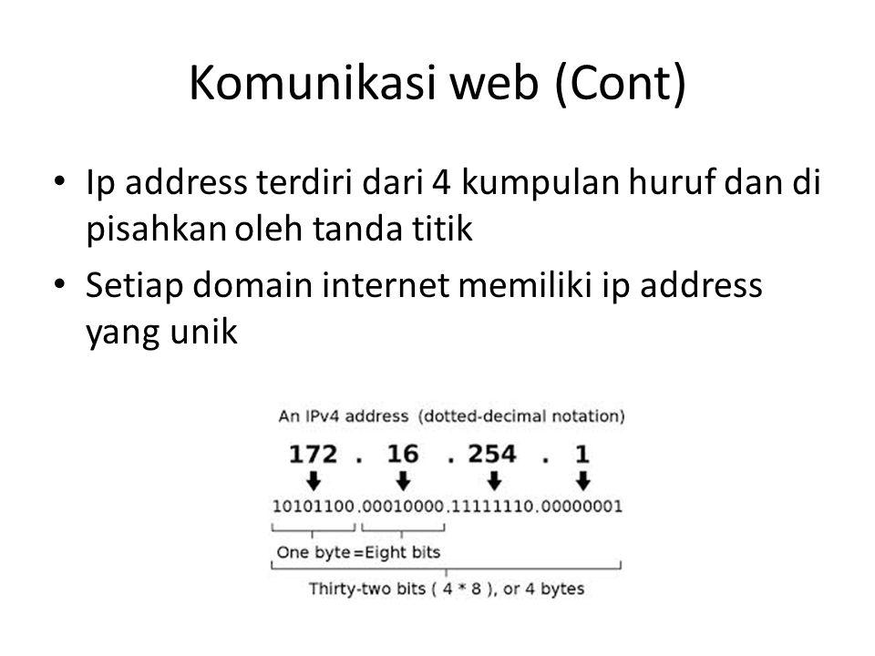 Komunikasi web (Cont) • Ip address terdiri dari 4 kumpulan huruf dan di pisahkan oleh tanda titik • Setiap domain internet memiliki ip address yang un