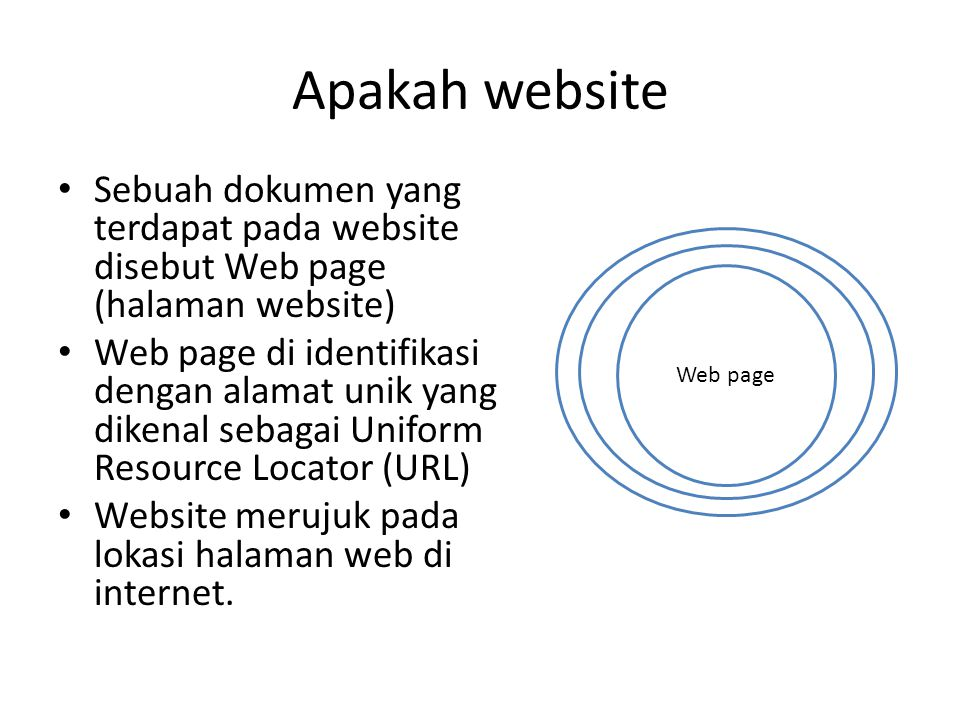 Apakah website • Sebuah dokumen yang terdapat pada website disebut Web page (halaman website) • Web page di identifikasi dengan alamat unik yang diken