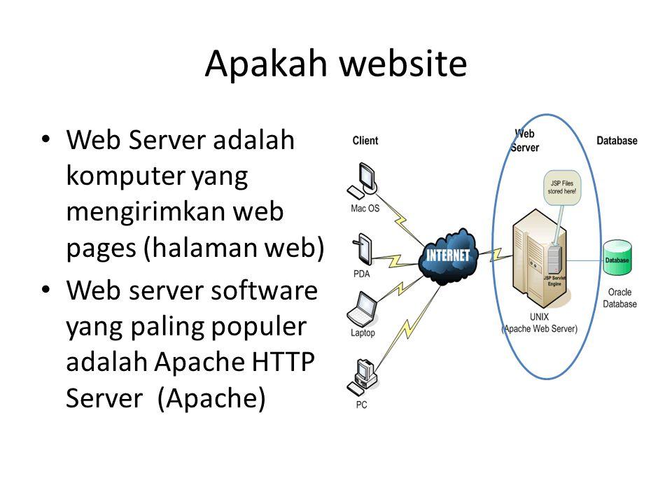 Apakah website • Web Server adalah komputer yang mengirimkan web pages (halaman web) • Web server software yang paling populer adalah Apache HTTP Serv