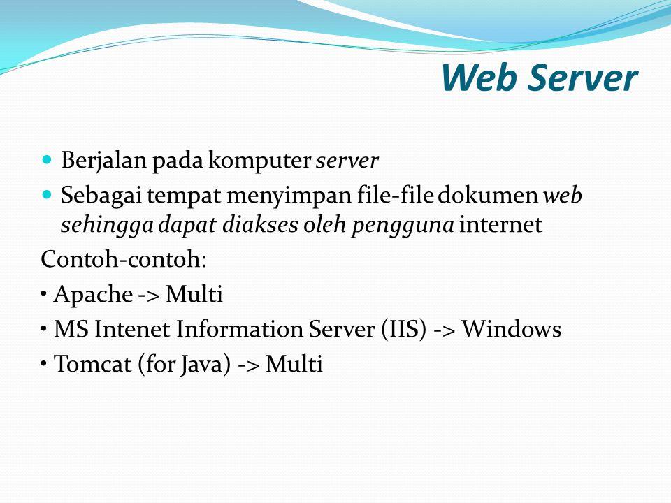 Web Server  Berjalan pada komputer server  Sebagai tempat menyimpan file-file dokumen web sehingga dapat diakses oleh pengguna internet Contoh-conto