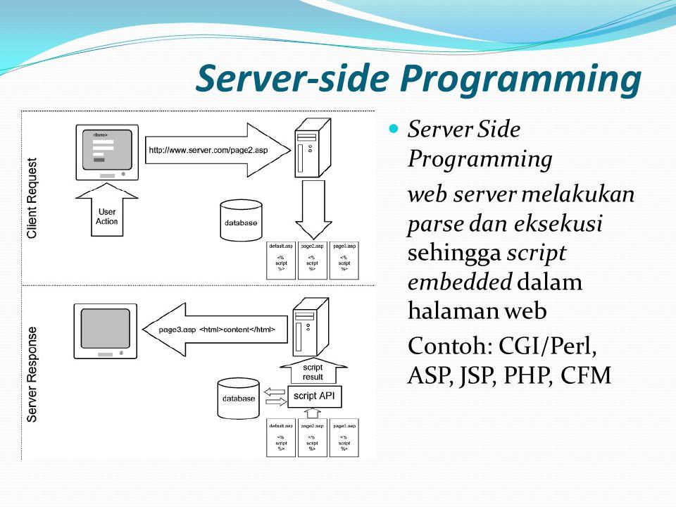 Server-side Programming  Server Side Programming web server melakukan parse dan eksekusi sehingga script embedded dalam halaman web Contoh: CGI/Perl,