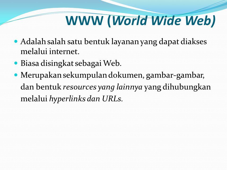 Web Server  Berjalan pada komputer server  Sebagai tempat menyimpan file-file dokumen web sehingga dapat diakses oleh pengguna internet Contoh-contoh: • Apache -> Multi • MS Intenet Information Server (IIS) -> Windows • Tomcat (for Java) -> Multi