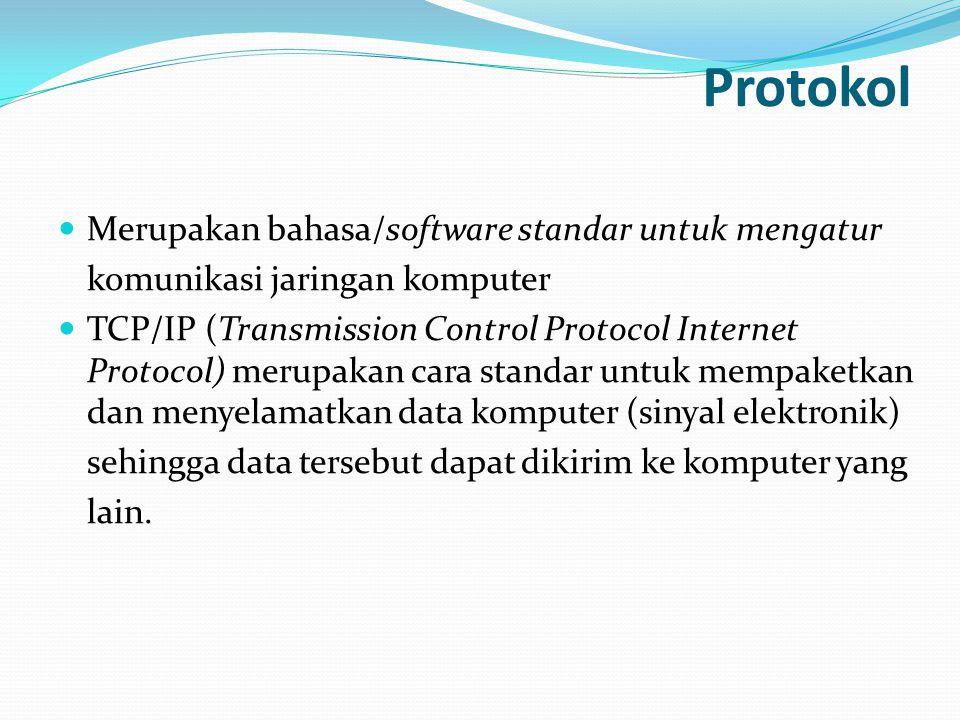 Protokol  Merupakan bahasa/software standar untuk mengatur komunikasi jaringan komputer  TCP/IP (Transmission Control Protocol Internet Protocol) me