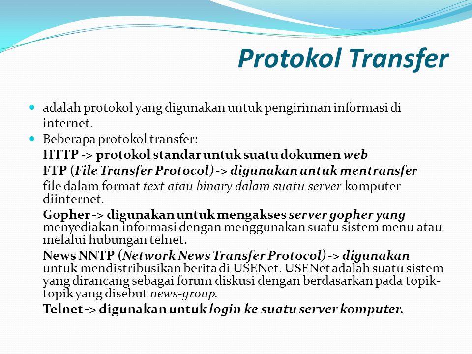 Protokol Transfer  adalah protokol yang digunakan untuk pengiriman informasi di internet.  Beberapa protokol transfer: HTTP -> protokol standar untu