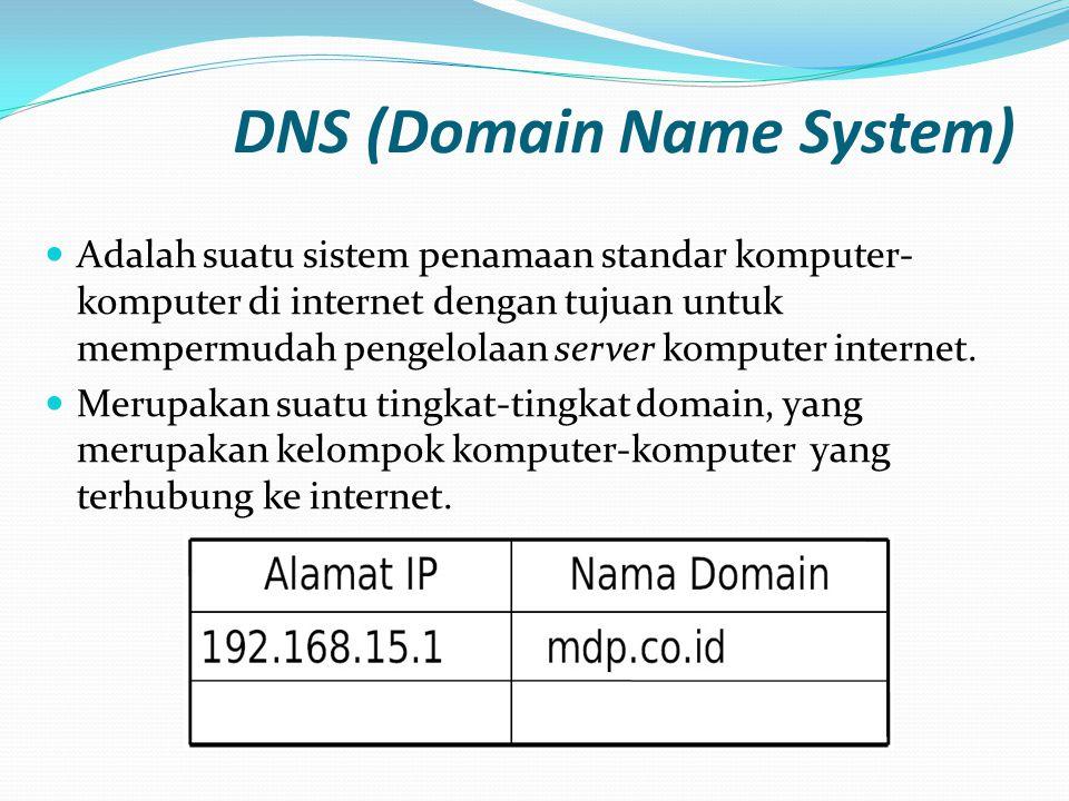 DNS (Domain Name System)  Adalah suatu sistem penamaan standar komputer- komputer di internet dengan tujuan untuk mempermudah pengelolaan server komp