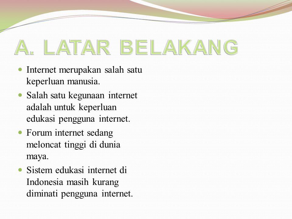 B.TUJUAN PENELITIAN  Mengembangkan pendidikan Indonesia di dunia maya.