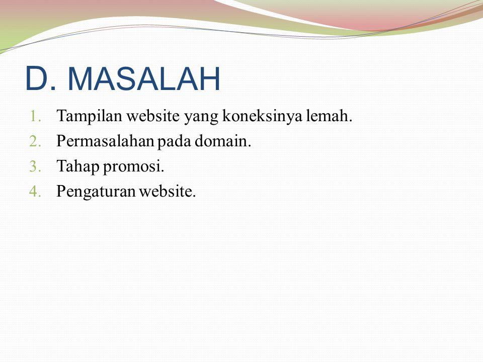 D. MASALAH 1. Tampilan website yang koneksinya lemah.