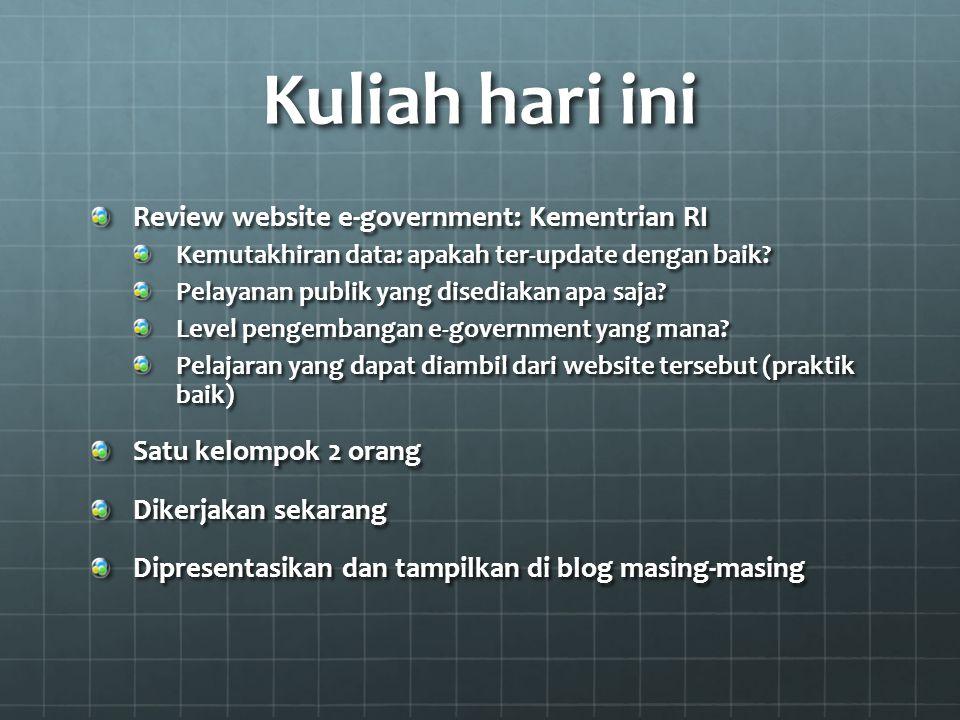 Kuliah hari ini Review website e-government: Kementrian RI Kemutakhiran data: apakah ter-update dengan baik.