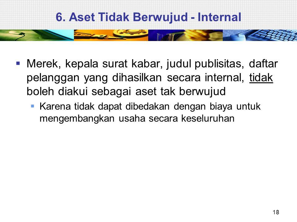 6. Aset Tidak Berwujud - Internal  Merek, kepala surat kabar, judul publisitas, daftar pelanggan yang dihasilkan secara internal, tidak boleh diakui
