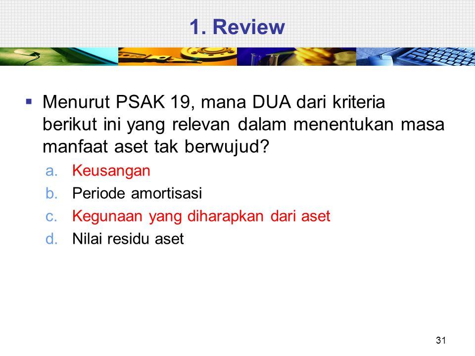 1. Review  Menurut PSAK 19, mana DUA dari kriteria berikut ini yang relevan dalam menentukan masa manfaat aset tak berwujud? a.Keusangan b.Periode am