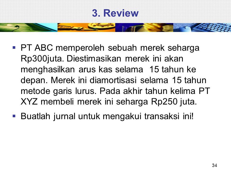 3.Review  PT ABC memperoleh sebuah merek seharga Rp300juta.