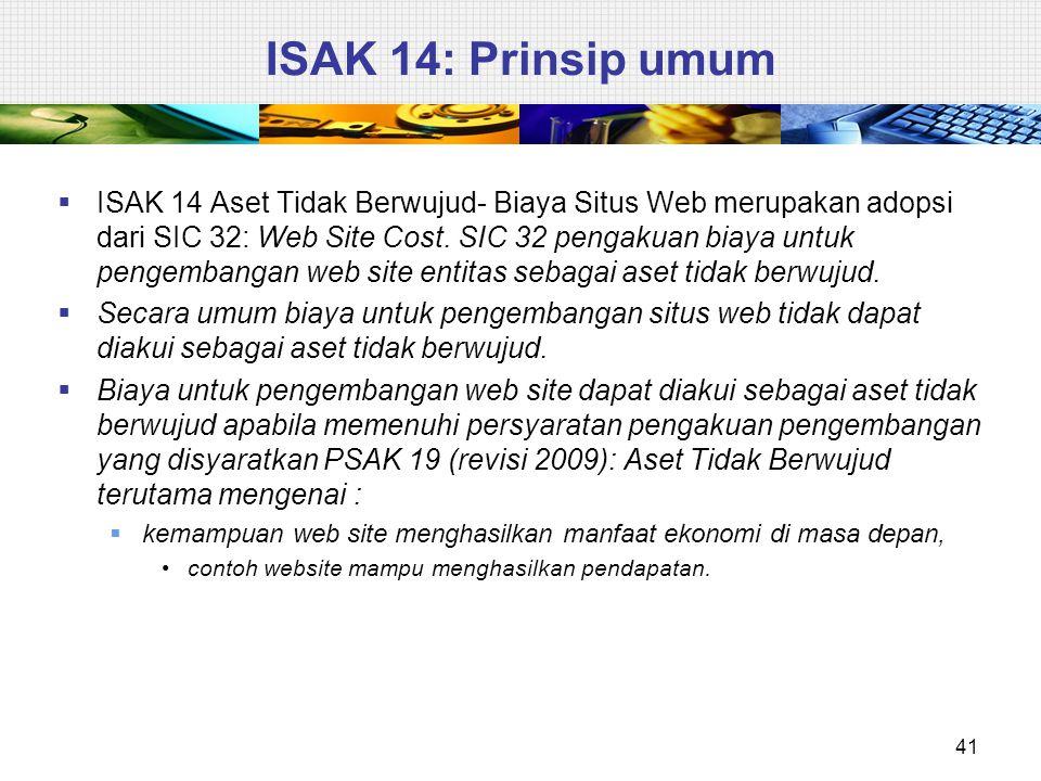  ISAK 14 Aset Tidak Berwujud- Biaya Situs Web merupakan adopsi dari SIC 32: Web Site Cost. SIC 32 pengakuan biaya untuk pengembangan web site entitas