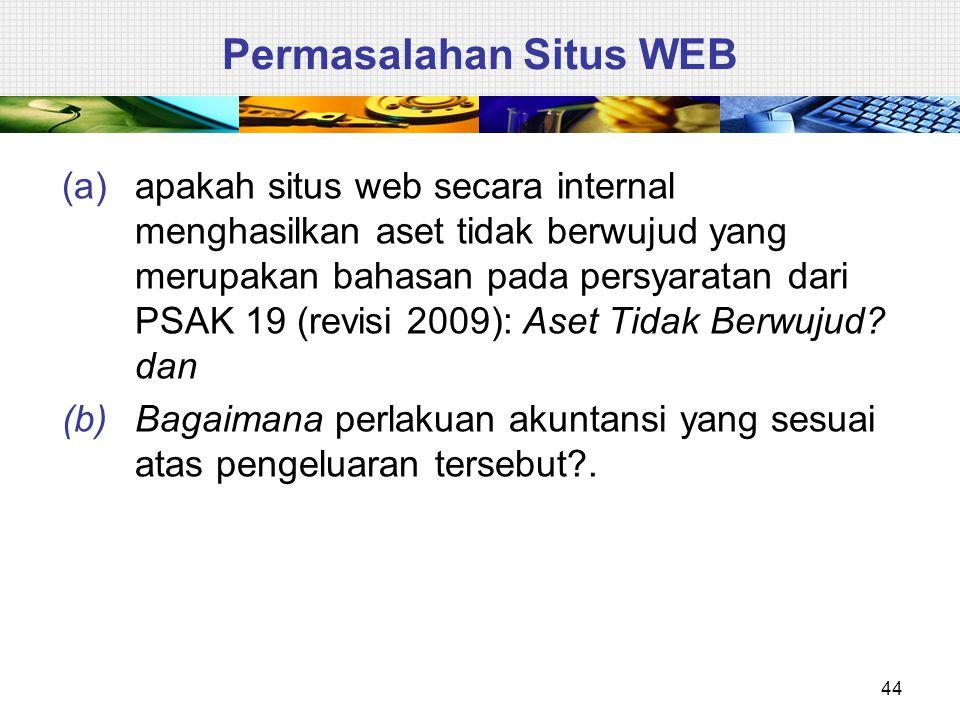  Situs web entitas yang muncul dari pengembangan dan digunakan untuk akses internal maupun eksternal merupakan aset tidak berwujud yang dihasilkan secara internal seperti yang tercakup dalam persyaratan PSAK 19 (revisi 2009): Aset Tidak Berwujud.