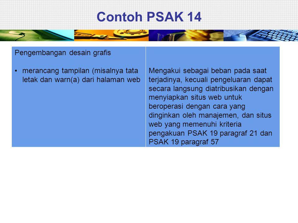 Contoh PSAK 14 Pengembangan desain grafis • merancang tampilan (misalnya tata letak dan warn(a) dari halaman web Mengakui sebagai beban pada saat terj