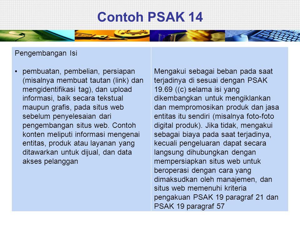 Contoh PSAK 14 Pengembangan Isi • pembuatan, pembelian, persiapan (misalnya membuat tautan (link) dan mengidentifikasi tag), dan upload informasi, bai
