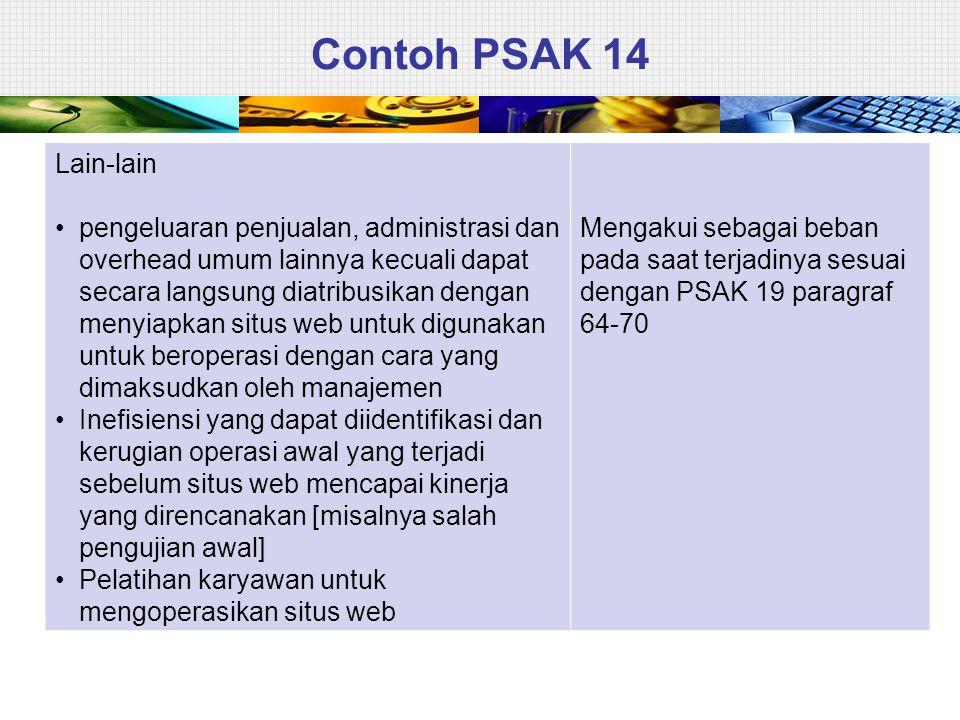 Contoh PSAK 14 Lain-lain • pengeluaran penjualan, administrasi dan overhead umum lainnya kecuali dapat secara langsung diatribusikan dengan menyiapkan