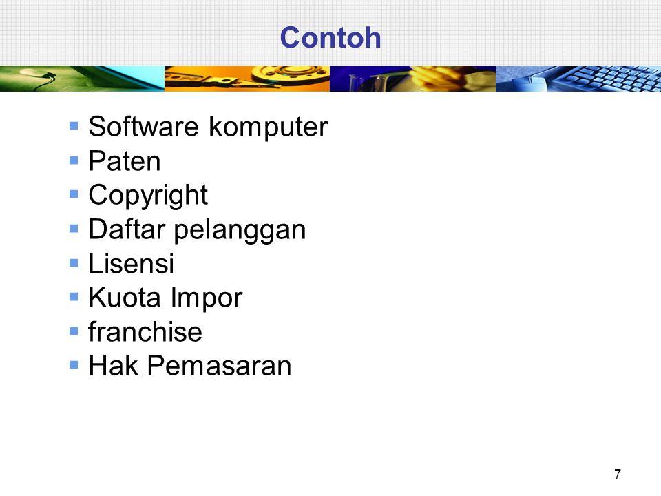 Contoh  Software komputer  Paten  Copyright  Daftar pelanggan  Lisensi  Kuota Impor  franchise  Hak Pemasaran 7