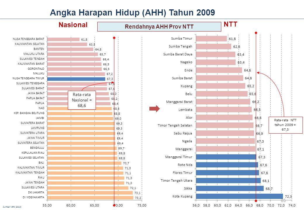 Angka Harapan Hidup (AHH) Tahun 2009 NTT Rata-rata NTT tahun 2009 = 67,3 Nasional Rata-rata Nasional = 68,6 Sumber: BPS (2010) Rendahnya AHH Prov NTT 35
