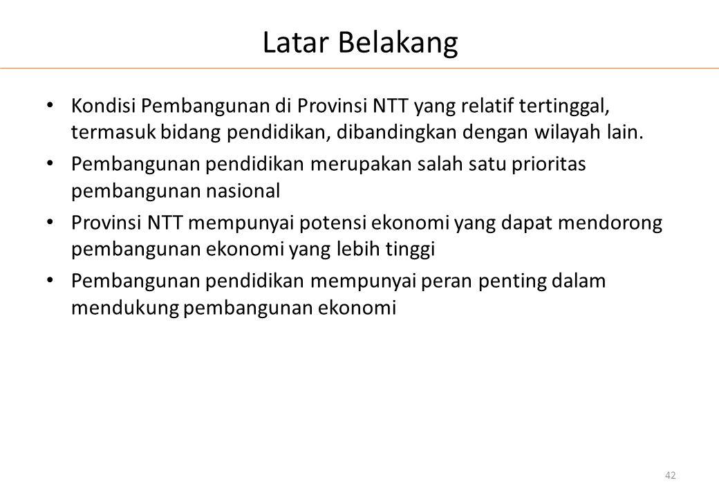 Latar Belakang • Kondisi Pembangunan di Provinsi NTT yang relatif tertinggal, termasuk bidang pendidikan, dibandingkan dengan wilayah lain. • Pembangu