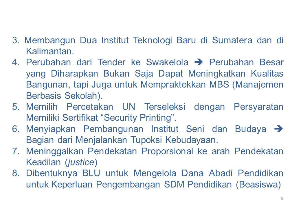 6 3. Membangun Dua Institut Teknologi Baru di Sumatera dan di Kalimantan. 4.Perubahan dari Tender ke Swakelola  Perubahan Besar yang Diharapkan Bukan