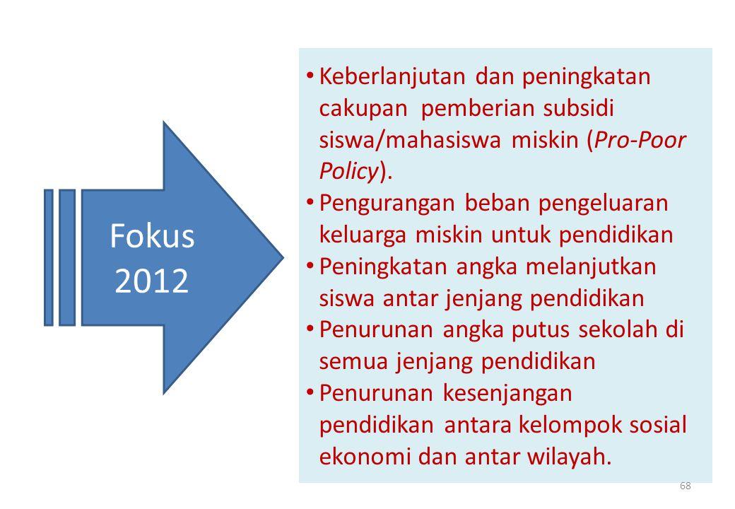 • Keberlanjutan dan peningkatan cakupan pemberian subsidi siswa/mahasiswa miskin (Pro-Poor Policy).