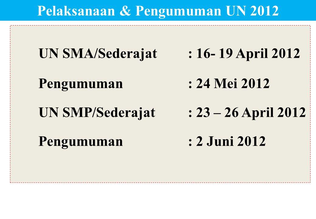 UN SMA/Sederajat: 16- 19 April 2012 Pengumuman: 24 Mei 2012 UN SMP/Sederajat: 23 – 26 April 2012 Pengumuman: 2 Juni 2012 Pelaksanaan & Pengumuman UN 2