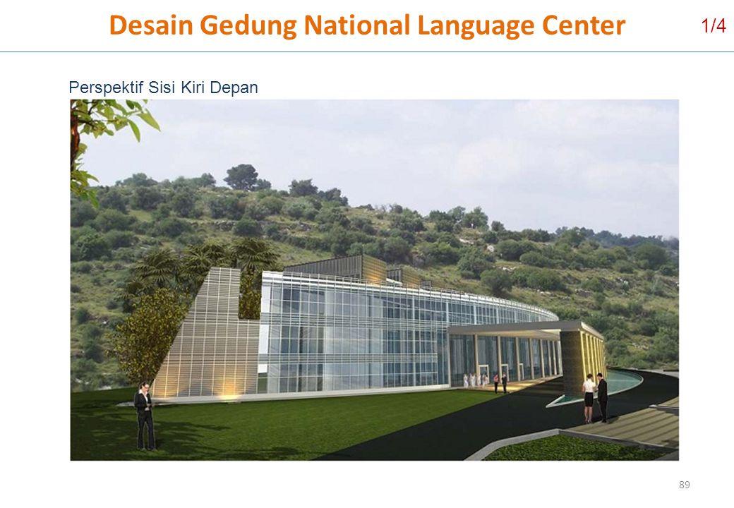 Desain Gedung National Language Center 89 Perspektif Sisi Kiri Depan 1/4
