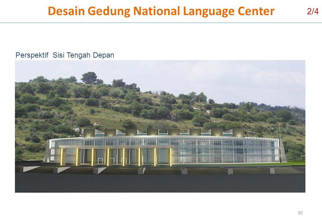 90 Perspektif Sisi Tengah Depan Desain Gedung National Language Center 2/4