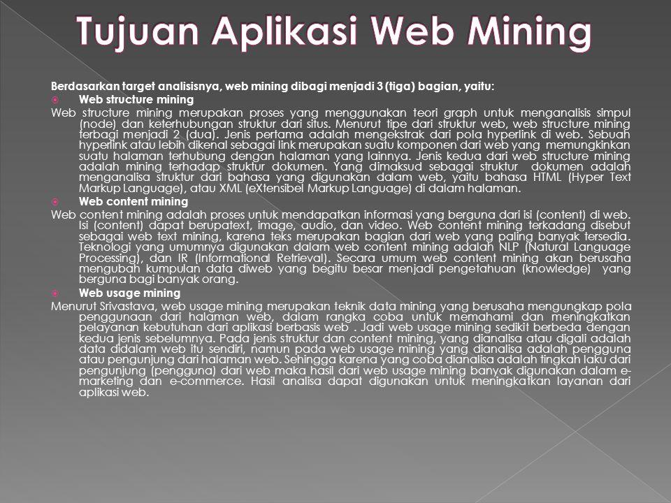 Berdasarkan target analisisnya, web mining dibagi menjadi 3 (tiga) bagian, yaitu:  Web structure mining Web structure mining merupakan proses yang me