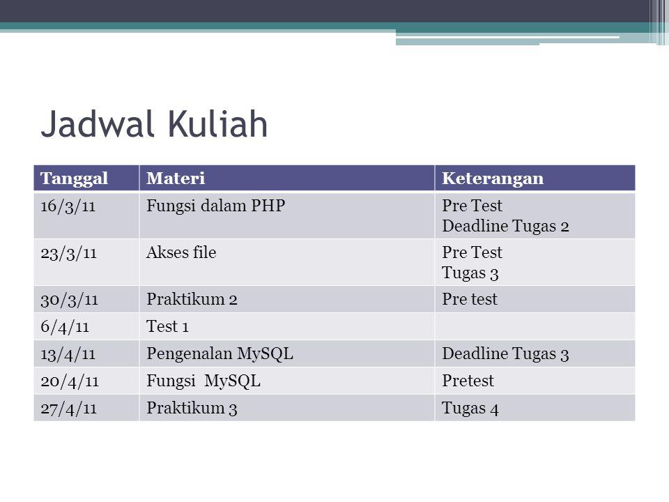 Jadwal Kuliah TanggalMateriKeterangan 4/5/11Akses PHP-MySQL Proposal Tugas 4 Pre Test 11/5/11Keamanan WebsitePretest 18/5/11Praktikum 4 25/5/11Konsultasi Tugas 4 1/6/11Presentasi Tugas 4 7/6/11Test 2Pre test