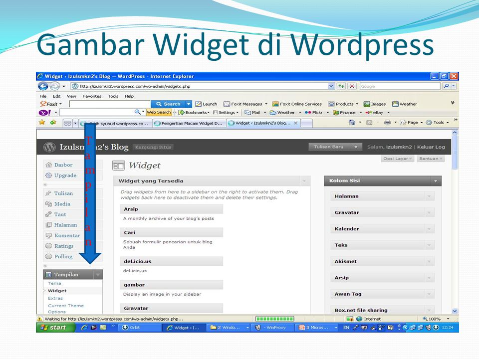 Gambar Widget di Wordpress TampilanTampilan