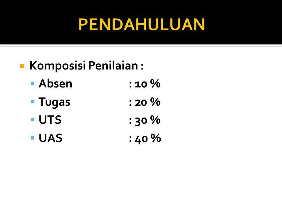  Komposisi Penilaian :  Absen: 10 %  Tugas : 20 %  UTS: 30 %  UAS: 40 %