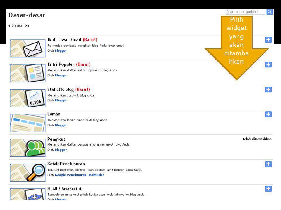 Pilih widget yang akan ditamba hkan