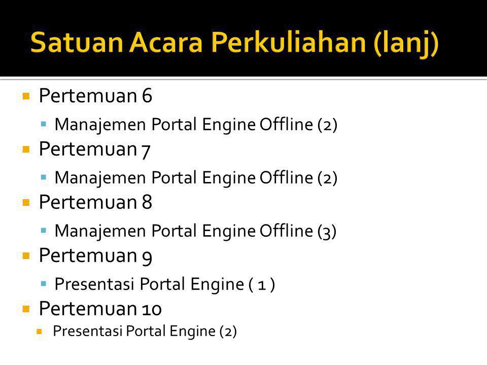  Pertemuan 6  Manajemen Portal Engine Offline (2)  Pertemuan 7  Manajemen Portal Engine Offline (2)  Pertemuan 8  Manajemen Portal Engine Offline (3)  Pertemuan 9  Presentasi Portal Engine ( 1 )  Pertemuan 10  Presentasi Portal Engine (2)