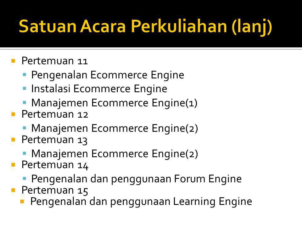  Pertemuan 11  Pengenalan Ecommerce Engine  Instalasi Ecommerce Engine  Manajemen Ecommerce Engine(1)  Pertemuan 12  Manajemen Ecommerce Engine(2)  Pertemuan 13  Manajemen Ecommerce Engine(2)  Pertemuan 14  Pengenalan dan penggunaan Forum Engine  Pertemuan 15  Pengenalan dan penggunaan Learning Engine