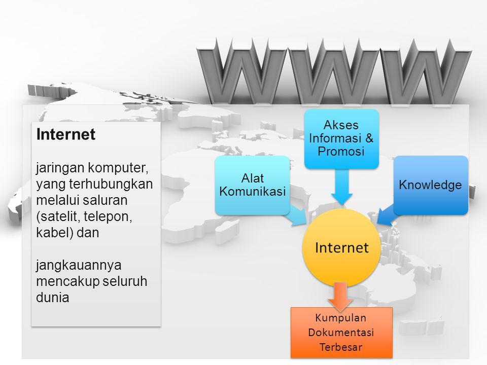 Internet jaringan komputer, yang terhubungkan melalui saluran (satelit, telepon, kabel) dan jangkauannya mencakup seluruh dunia Internet jaringan komp