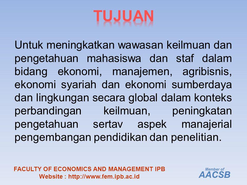 Untuk meningkatkan wawasan keilmuan dan pengetahuan mahasiswa dan staf dalam bidang ekonomi, manajemen, agribisnis, ekonomi syariah dan ekonomi sumberdaya dan lingkungan secara global dalam konteks perbandingan keilmuan, peningkatan pengetahuan sertav aspek manajerial pengembangan pendidikan dan penelitian.