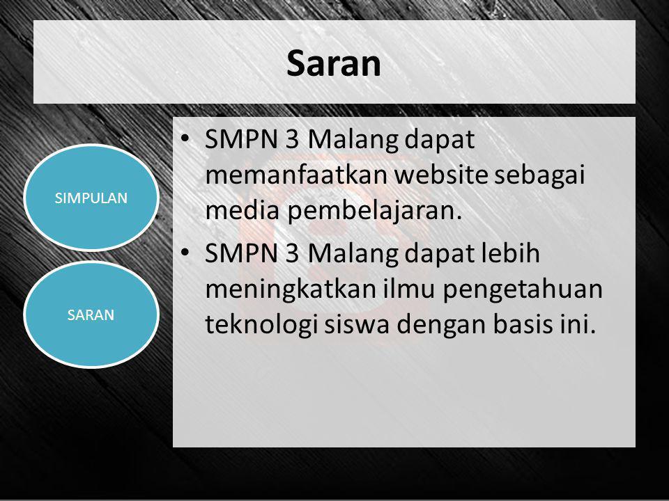 Saran • SMPN 3 Malang dapat memanfaatkan website sebagai media pembelajaran. • SMPN 3 Malang dapat lebih meningkatkan ilmu pengetahuan teknologi siswa