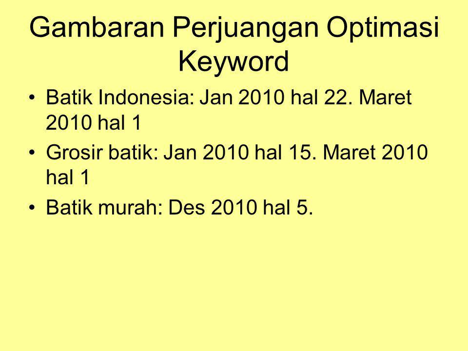Gambaran Perjuangan Optimasi Keyword •Batik Indonesia: Jan 2010 hal 22.