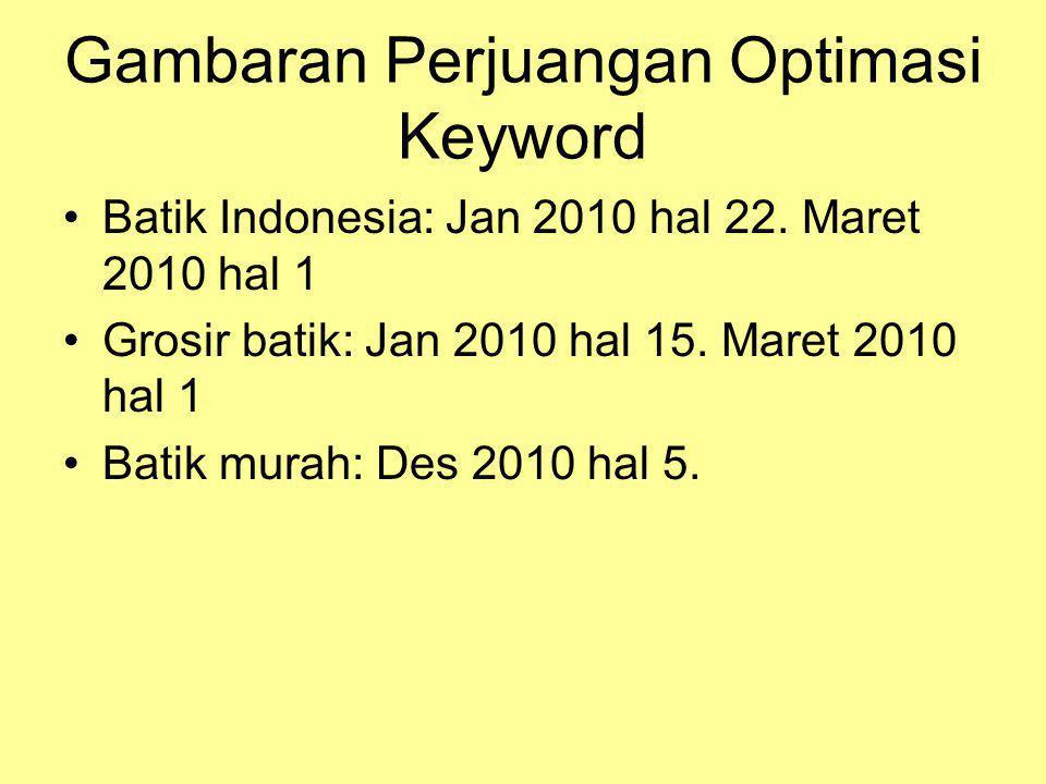 Gambaran Perjuangan Optimasi Keyword •Batik Indonesia: Jan 2010 hal 22. Maret 2010 hal 1 •Grosir batik: Jan 2010 hal 15. Maret 2010 hal 1 •Batik murah